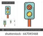 train traffic light vector line ... | Shutterstock .eps vector #667045468