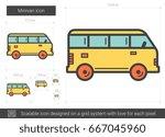 minivan vector line icon...