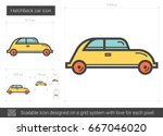 hatchback car vector line icon... | Shutterstock .eps vector #667046020