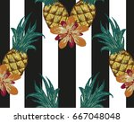 hand drawn striped pineapple... | Shutterstock .eps vector #667048048
