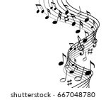 music notes on a solide white... | Shutterstock .eps vector #667048780