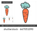 fresh carrot vector line icon... | Shutterstock .eps vector #667051090