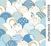 seamless pattern of  circles... | Shutterstock .eps vector #667053058