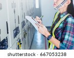 women engineer working on... | Shutterstock . vector #667053238