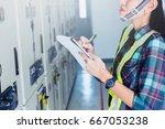 women engineer working on... | Shutterstock . vector #667053238