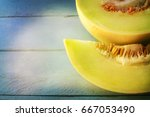 juicy honeydew melon on a... | Shutterstock . vector #667053490