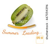 juicy fruit kiwi. summer... | Shutterstock .eps vector #667054396