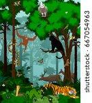 vector indian jungle rainforest ... | Shutterstock .eps vector #667054963