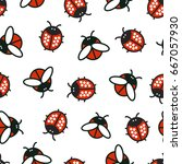 seamless pattern with ladybirds ... | Shutterstock .eps vector #667057930