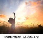 freedom and worship concept ... | Shutterstock . vector #667058170