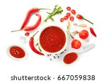 tasty chili sauce in bowl and... | Shutterstock . vector #667059838