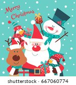 merry christmas card with santa ... | Shutterstock .eps vector #667060774