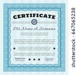 light blue certificate template ... | Shutterstock .eps vector #667065238
