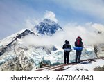 panoramic view of mount everest ... | Shutterstock . vector #667066843