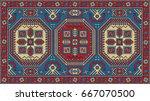 colorful mosaic oriental kazak... | Shutterstock .eps vector #667070500