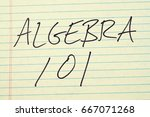 "Small photo of The words ""Algebra 101"" on a yellow legal pad"