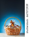gift basket on blue background | Shutterstock . vector #667072939