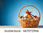 gift basket on blue background | Shutterstock . vector #667072966