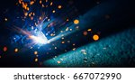 artistic welding sparks light ... | Shutterstock . vector #667072990