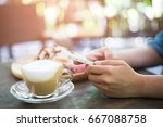 woman hold with smart phone at... | Shutterstock . vector #667088758