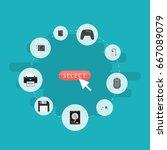 flat icons diskette  printer ... | Shutterstock .eps vector #667089079