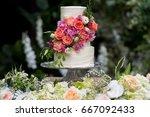 Wedding Cake In The Garden