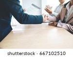 successful job interview. hr...   Shutterstock . vector #667102510