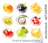 set of fruit juice splash ....   Shutterstock .eps vector #667102909