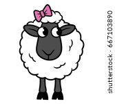 Cartoon Sheep With Bow Vector...