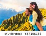 travel couple fun piggyback at... | Shutterstock . vector #667106158