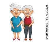 cartoon grandparents design | Shutterstock .eps vector #667110826