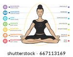 chakras system of human body  ... | Shutterstock .eps vector #667113169