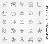 renewable energy icons set  ... | Shutterstock .eps vector #667115434