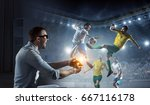 experience the reality of game. ... | Shutterstock . vector #667116178
