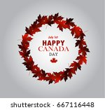 leaf frame canada day card in... | Shutterstock .eps vector #667116448