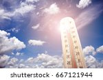 thermometer on the summer heat  | Shutterstock . vector #667121944