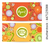 organic food horizontal flyers... | Shutterstock .eps vector #667125088