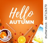 orange beautiful background... | Shutterstock .eps vector #667126270