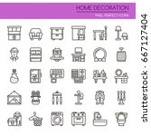 home decoration   thin line and ... | Shutterstock .eps vector #667127404