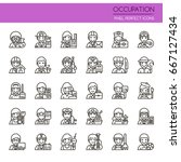 occupation elements   thin line ... | Shutterstock .eps vector #667127434