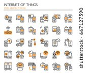 internet of things   thin line... | Shutterstock .eps vector #667127590