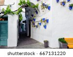 traditional old narrow spanish... | Shutterstock . vector #667131220