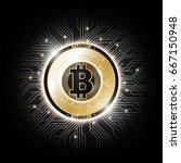 golden bitcoin digital currency ... | Shutterstock .eps vector #667150948