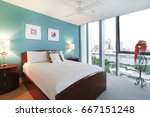 modern bed room and lamps ... | Shutterstock . vector #667151248