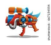 cartoon retro space blaster ... | Shutterstock .eps vector #667154554