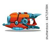 cartoon retro space blaster ... | Shutterstock .eps vector #667154584