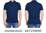 Small photo of T-shirt design - young man in blank dark blue polo shirt from front and rear isolated