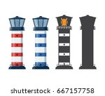 blue and red striped lighthouse ... | Shutterstock .eps vector #667157758