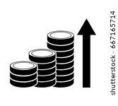 coins stacks with arrow upwards ... | Shutterstock .eps vector #667165714