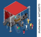 event stage podium construction ... | Shutterstock .eps vector #667168570